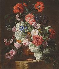 HIERONYMUS GALLE I (ANTWERP 1625-1679) Roses, peonies, poppies, carnations, guelder r