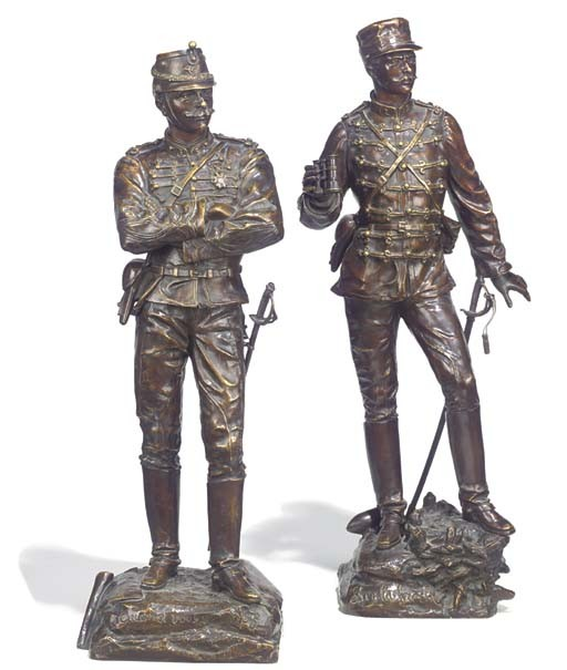Two French bronze figures of infantrymen
