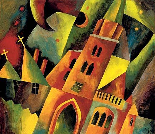 Landschaft mit Kirchen