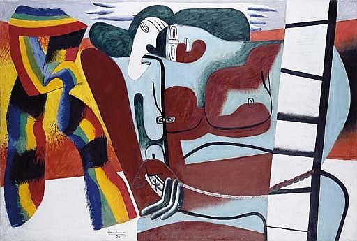 Deux figures et l'écharpe multicolore