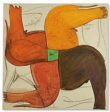 Fabrice Hyber (né en 1961) Les Chutes pour caler acrylique, fusain et mine de plomb sur toile 100 x 100 cm.