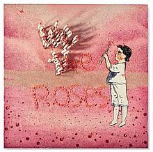 Farhad Moshiri (né en 1963) We the Roses perles brodées à la main, fils, strass, sequins, papillons en plastique et couteaux sur toile 212 x 212 cm.