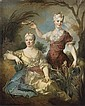 Portrait de la baronne Le Leu d'Aubilly et de sa fille, Madame de Guinaumont, Nicolas de Largillierre, Click for value