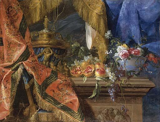 Urne, fruits et fleurs sur un entablement