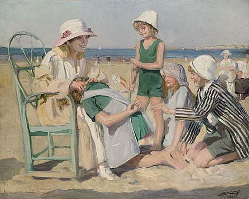 Jeu de devinettes sur la plage, la famille de l'artiste
