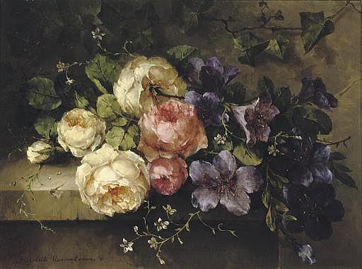 Bouquet de roses et de mauves sur une tablette: a mixed bouquet on a ledge