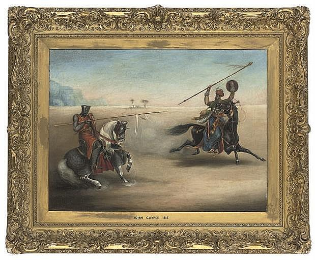 A Crusader jousting with a Saracen in the desert