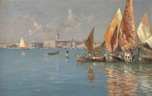 Fishing vessels moored before Venice
