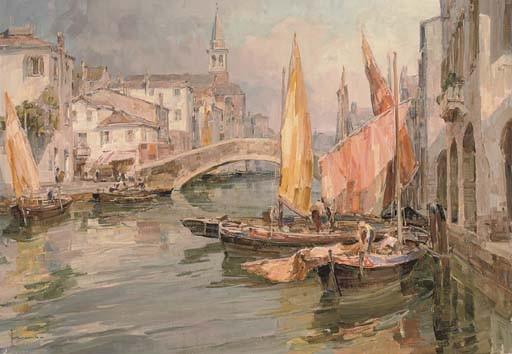 Fishing vessels on a Venetian backwater