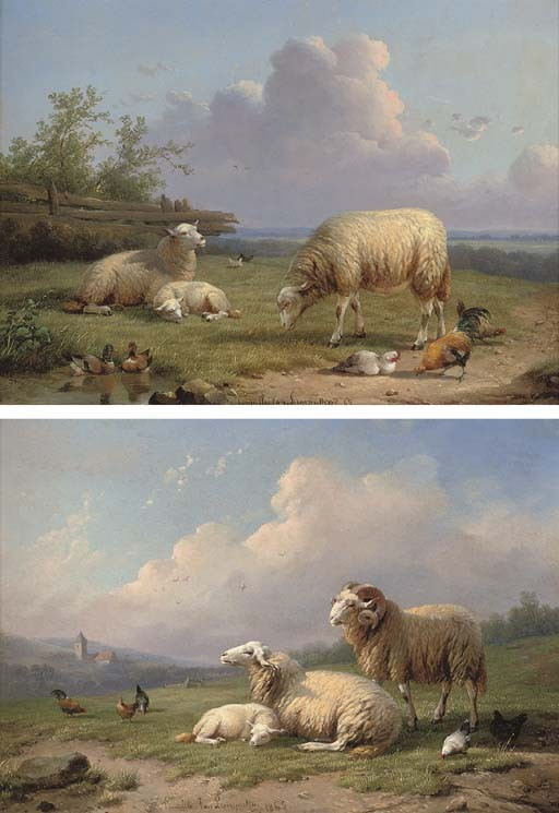 A ram, sheep and poultry in a landscape; and Sheep, ducks and poultry in a landscape.