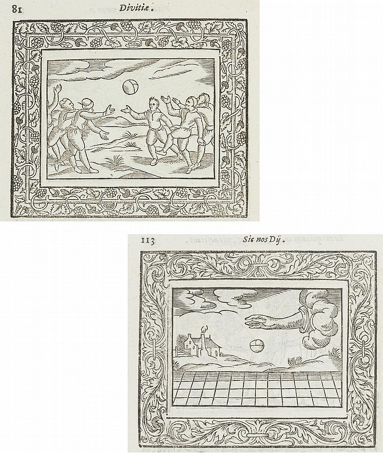 PEACHAM, Henry (1576-1643). Minerva Britanna or A Garden of Heroical Deuises ... newly devised, moralized, and published . London: Wa. Dight, [1612]. 4° (208 x 154mm). General title with woodcut device and architectural border, part title with