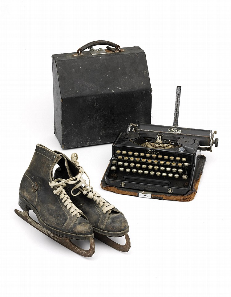 [MURDOCH, Iris (1919-1999)]. A collection of personal effects, photographs and other material, including: A PORTABLE TYPEWRITER by the Palestine Orient Co. (Tel-Aviv, Jerusalem, Haifa), no.5, with its carrying case (heavily worn), her skating