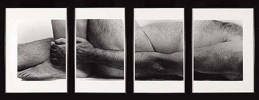 Self Portrait (lying figure, holding leg, four panels) 1990