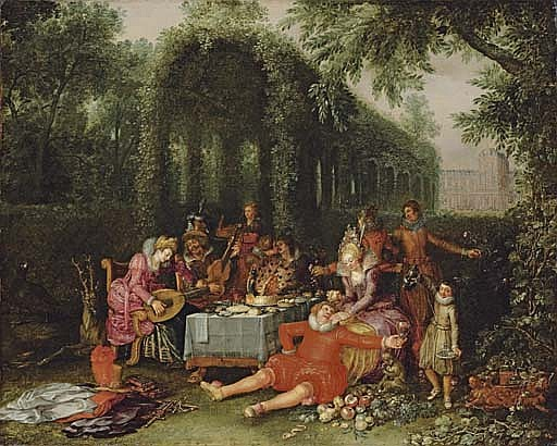 Elegant company in an ornamental garden