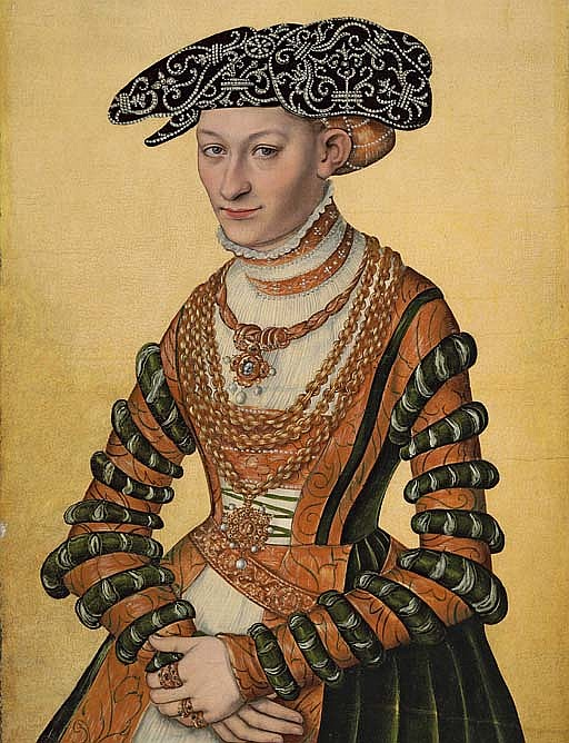 Portrait of a lady, three-quarter-length, in a green velvet and orange dress and a pearl-embroidered black hat