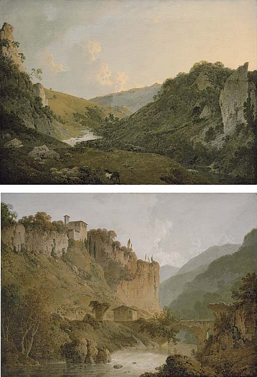 View in Dovedale, Derbyshire; and View of the Convent of San Cosimato and part of the Claudian Aquaduct near Vicovaro in the Roman Campagna