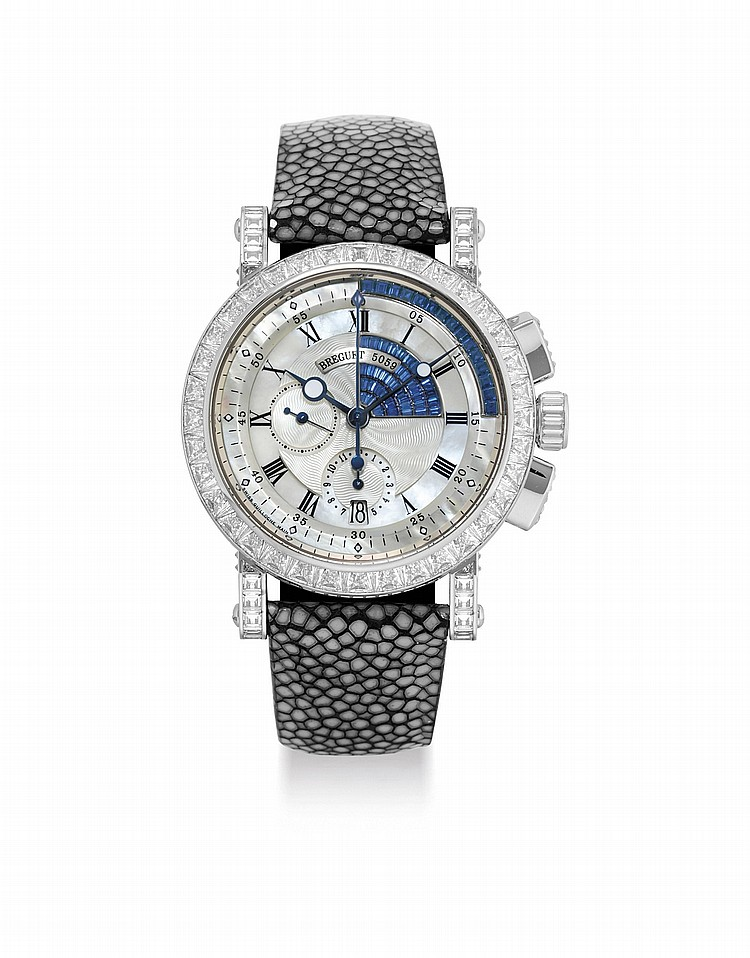 BREGUET. AN IMPRESSIVE AND VERY RARE 18K WHITE GOLD, SAPPHIRE AND DIAMOND-SET AUTOMATIC CHRONOGRAPH WRISTWATCH WITH DATE, MOTHER-OF-PEARL DIAL AND CERTIFICATE