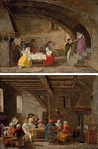 Interior of an Inn with elegant figures eating and artisans playing cards in the background; and Interior of an Inn with mixed company taking tea