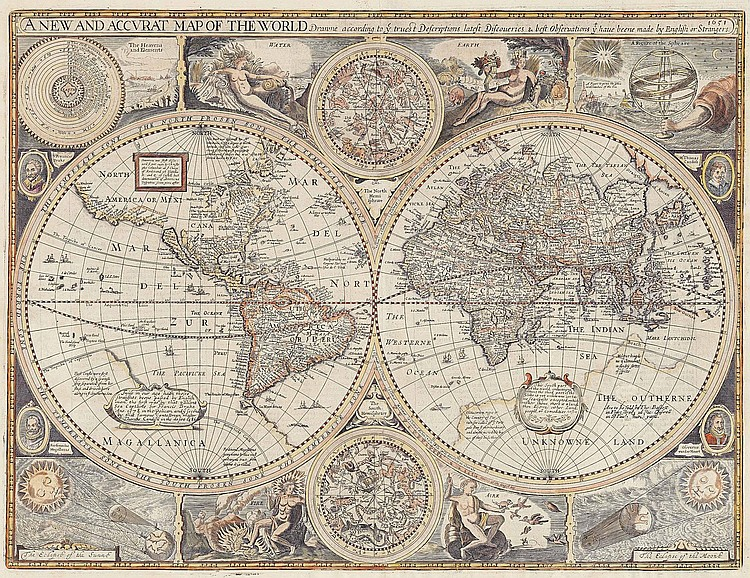 SPEED, John (1552-1629). A New and Accurate Map of the World . London: Thomas Bassett and Richard Chiswell, [1676]. Double-page engraved map with recent hand-colouring (restoration along fold and to three other areas of the map, with loss of the