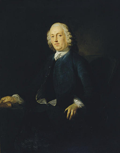 Portrait of a gentleman, three-quarter length, seated by a table