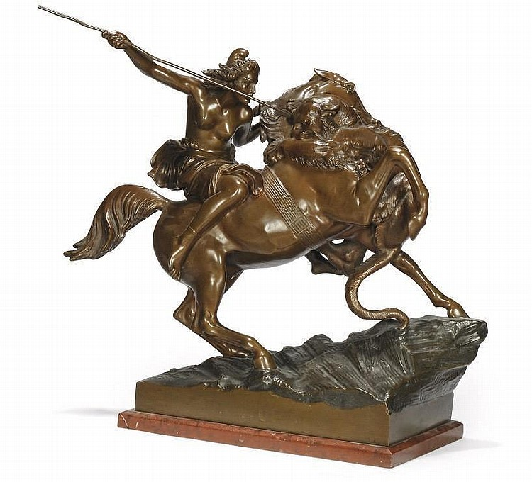 A GERMAN BRONZE GROUP ENTITLED 'AMAZON FIGHTING A PANTHER'