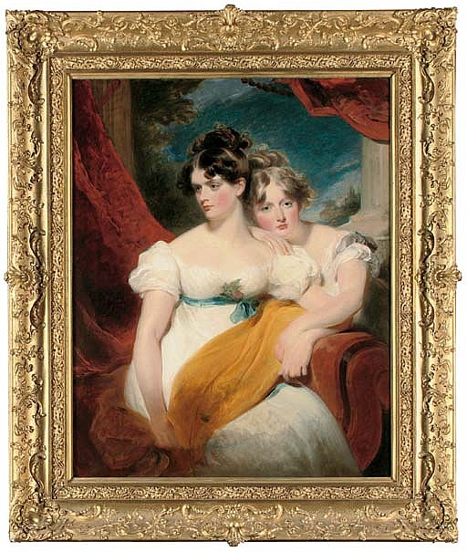 Double portrait of Marianne Anna Maria Gooch (d. 1855) and Charlotte Matilda Gooch (d. 1852), three-quarter-length, one seated in a white dress with a blue sash and a yellow shawl across her lap, the other kneeling beside in a white dress, a red