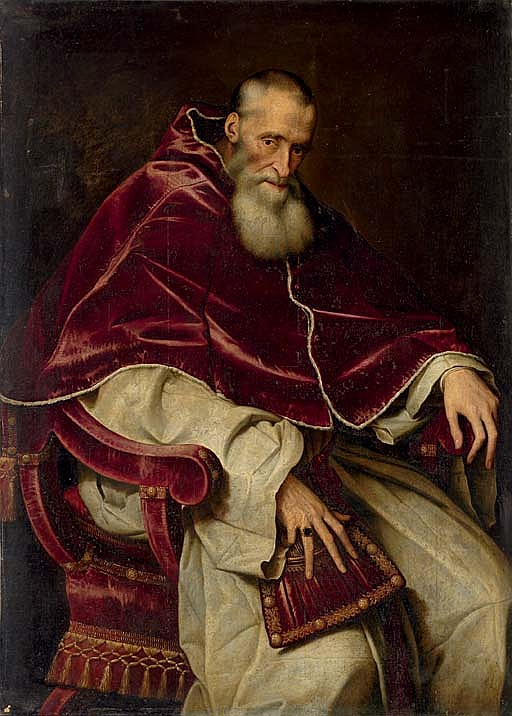 Portrait of Alessandro Farnese (1468-1549), Pope Paul III (1534-1549), seated three-quarter-length, in a papal robes