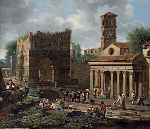 The Arch of Janus, Rome, with the church of San Giorgio in Velabro
