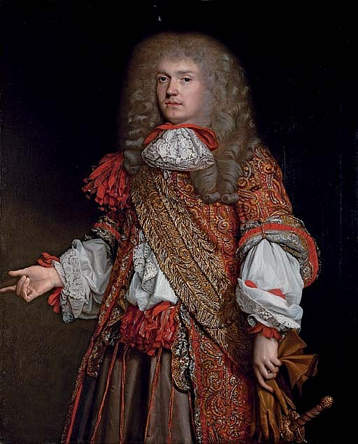 Portrait of Sir Edward Turner (1642-1721), three-quarter-length, in a red coat with gold embroidery and lace collar and cuffs, carrying a sword and holding his gloves in his left hand
