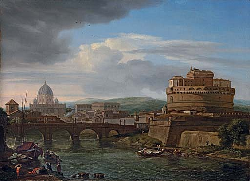 A view of the Tiber, Rome, with the Castel Sant'Angelo and St. Peter's beyond