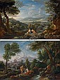 An extensive Italianate landscape with herdsmen conversing by a stream; and An extensive Italianate landscape with herdsmen resting near a path, Jan Frans van Bloemen, Click for value