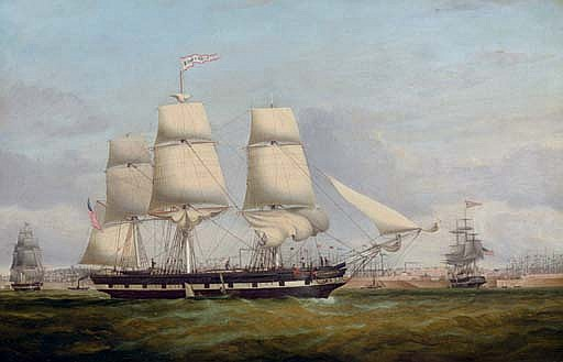The American merchantman Euphrasia in three positions off the Liverpool waterfront