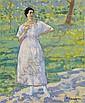 Frau im Garten , Albert (1883) Schmidt, Click for value