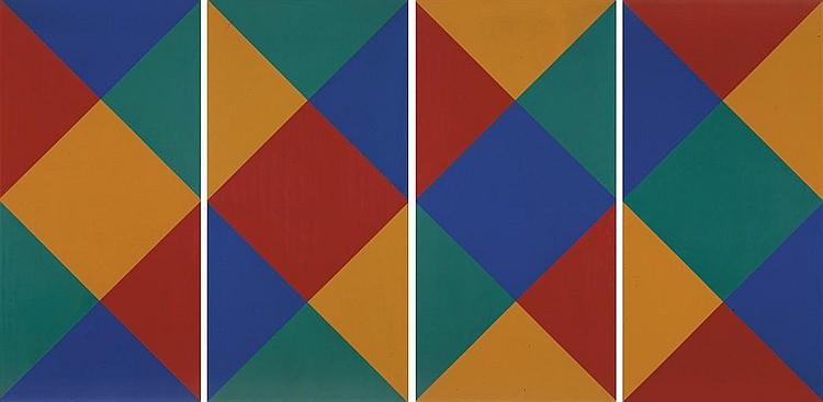 'rotierende vierfarbige doppelkerne I-IV' , 1972 (vierteilig)
