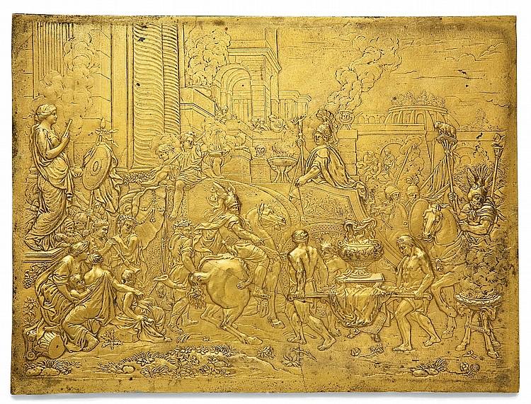 PLAQUE EN BRONZE DORE REPRESENTANT L'ENTREE D'ALEXANDRE LE GRAND DANS BABYLONE