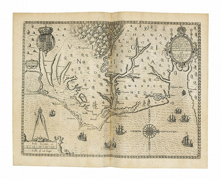 BRY, Theodor de (1528-1598) and Johann Theodor de BRY (1561-1623). [ Great Voyages . America, in Latin]. Frankfurt: Johann Wechel for Theodor de Bry, 1590-1597. [ Comprising :]