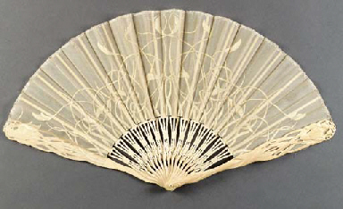 A fine, carved Art Nouveau fan, the pierced ivory sticks signed Fernand Dubois 5., the guards carved in the shape of iris, the gauze leaf painted with white, intertwined flowers - 12in. (30cm), Belgian, in box by Maison L. Couplet, Bruxelles