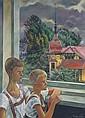 Luca und Titus am Fenster, Regen im Sommer , Conrad Felixmuller, Click for value