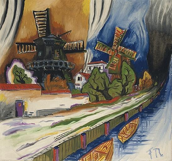Windmühlen am Kanal ( recto ); Sitzende und weisses Huhn ( verso )