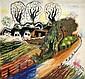 Bauerndorf ( recto ); Stehender Akt mit Hühnern ( verso ) , Franz Radziwill, Click for value