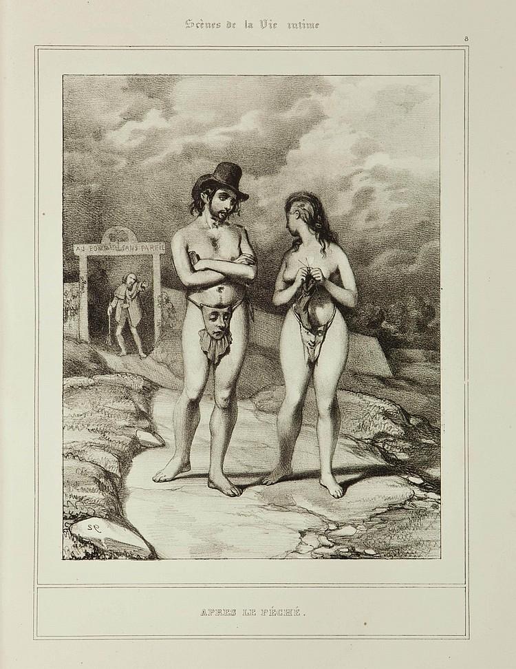 [GAVARNI, Paul (1804-1866)]. De la vie privée - Scènes de la vie intime . [?Paris: Auber?, vers 1837]. Suite complète de 12 lithographies originales en noir, certaines datées ou monogrammées dans la pierre. In-folio (375 x 255 mm).