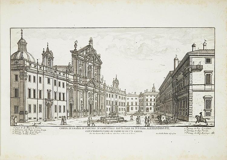 FALDA, Giovanni Battista (1648-1678).  Il nuovo Teatro delle Fabriche, et Edificii, in Prospettiva di Roma moderna.  Rome: Giovanni Giacomo Rossi, 1665-1699.