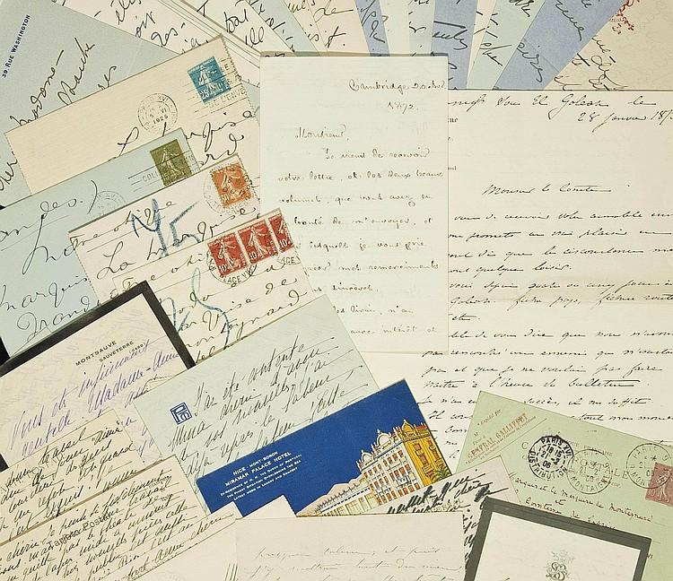 BERNHARDT, Sarah (1844-1923). Réunion de trois lettres autographes