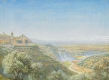 JOHN BRETT, A.R.A. (BRITISH, 1831-1902), Tivoli, the Roman Campagna in the distance,