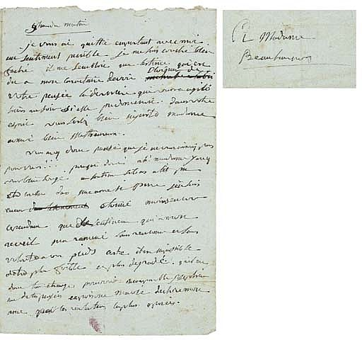 NAPOLEON I (1769-1821), Emperor of the French . Autograph letter signed ('B[ona]P[arte]') to Josephine de Beauharnais, n.p. [Paris], '9 heures du matin' [1795/6], including four cancellations and emendations, 2 pages, 8vo (cut at upper edges