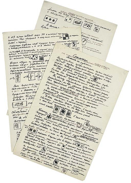 MALEVICH, Kazimir Severinovich (1878-1933). Autograph manuscript with diagrams, 'Suprematizm. Momenty ego Razvitia' [Suprematism. Stages of its Development], n.p., n.d. [after 1923],  3 pages, folio  (silked, causing slight roll at edges).
