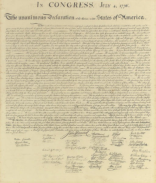 [DECLARATION OF INDEPENDENCE].  In Congress, July 4, 1776. The Unanimous Declaration of the Thirteen United States of America. When in the Course of Human Events...  [Washington, D.C., engraved by W.I. Stone, 1823, printed by Peter Force, 1848].