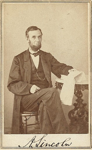 LINCOLN, Abraham. GARDNER, Alexander, Photographer. Carte-de-visite photograph signed (