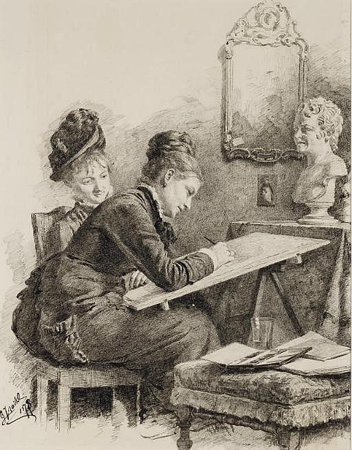 Deux femmes assises dessinant