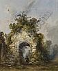 Une église en ruine entourée de végétation, un homme se promenant, Gabriel Hippolyte Lebas, Click for value